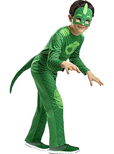 Funidelia | Disfraz de Gekko PJ Masks Oficial para niño Talla 7-9 años ▶ Dibujos Animados, Gatuno, Buhita, Gekko - Color: Verde - Licencia: 100% Oficial