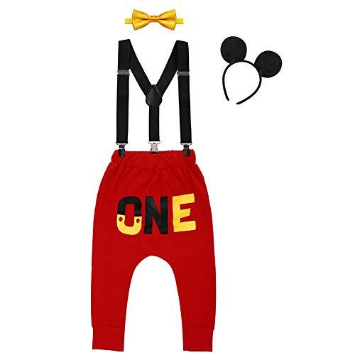 IWEMEK Baby 1. Geburtstag Kostüm Jungen Mouse Karneval Cosplay Outfit Hosenträger Lange Hosen mit Fliege Maus Ohren Stirnband 4pcs Bekleidungssets Fotoshooting Halloween 01 12-18 Monate