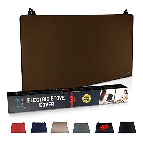Larsic Stove Cover - Protects Electric Stove Washer Dryer Top. Anti-Slip Coating Waterproof Stove Gap Foldable Prevent Scratching, Expands Usable Space (28.5X20.5, Brown)