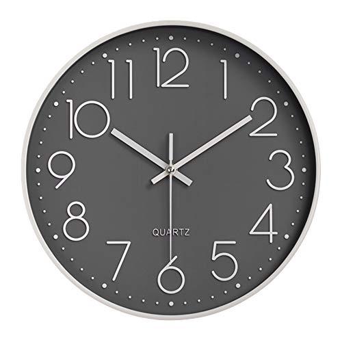 Aischens Reloj de Pared Moderno Grandes Decorativos Silencioso Interior Reloj de Cuarzo de Cuarzo Redondo No-Ticking para Sala de Estar para Cocina, Sala de Estar, Oficina, Dormitorio, Aula (30 cm)
