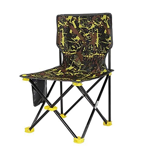 EIU Silla de pesca plegable con respaldo alto, silla de camuflaje portátil, ligera y plegable, con bolsa de almacenamiento de artículos (color: amarillo)