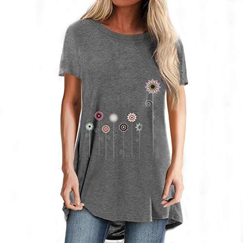 Camiseta gráfica de manga enrollada Mujer Diente de león Camiseta de manga corta con estampado floral para mujer Tops de verano Camiseta con estampado de flores Camiseta de color sólido Cuello redondo