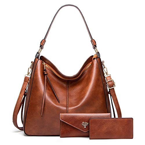 BestoU Handbags for Ladies Black Large Leather Purses for Women Tote Messenger Shoulder Crossbody Bag Set Including a Purse and Card Bag (Brown)