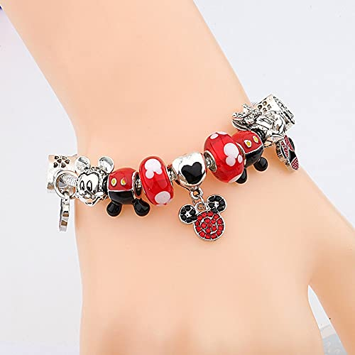 PPuujia Pulsera de Mickey Minnie de color plateado, con cuentas de cristal esmaltadas rojas (color de la gema: tela plateada)