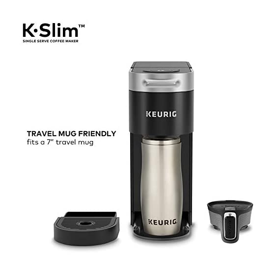 "Keurig k-slim single serve coffee maker with coffee lovers' variety pack, 40 count k-cup pods 5 fits anywhere: less than 5"" wide, fits neatly on your countertop. Multiple cup water reservoir: removable 46 oz. Reservoir lets you brew up to 4 cups before refilling. 8oz cup size 3 cup sizes: brew an 8, 10, or 12 oz. Cup at the push of a button."