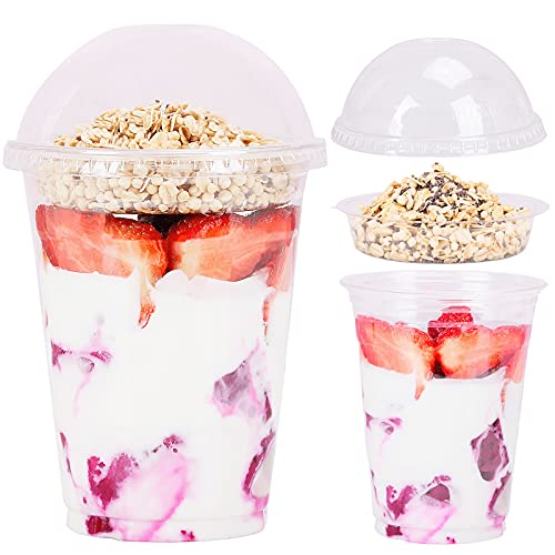 16 oz Clear Plastic Parfait Cups with Insert 4oz & Dome Lids No Hole - (40 Sets) Yogurt Fruit Parfait Cups for Kids, for Dips and Veggies, Take Away Breakfast and Snacks. No Leaking