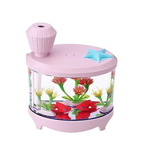 YNHNI Deumidificatori USB Mini Humidificatore del Serbatoio di Pesce colorato aromaterapia Luminosa aromaterapia umidificatore Domestico (Color : Pink)