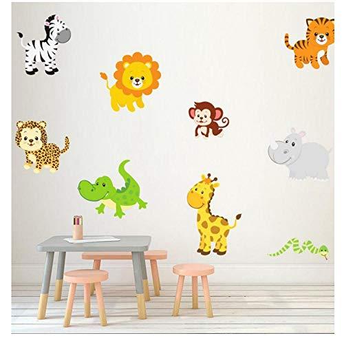 Adesivo da parete autoadesivo per camera da letto, motivo: animali, leone, coccodrillo, scimmia, rinoceronte zebra, giraffa