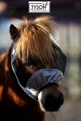Fliegenmaske Lissy OHNE Ohren Schwarz Grau viel Augenfreiheit Gummigummi Dichtung Tysons Minishetty Mini Pony Mini Shetty (Shetty, Grau/Schwarz)