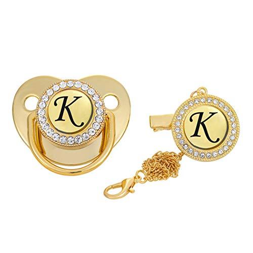 GeKLok Chupete inicial de oro para bebé, chupete, chupete, chupete, dorado con clips, letra inicial recién nacida, chupete chupete (tamaño: K)