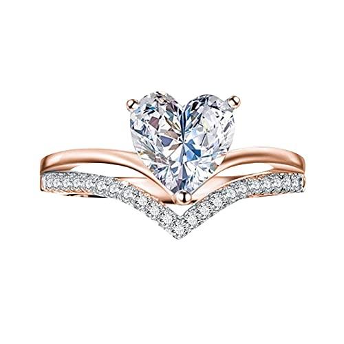 minjiSF Anillo de diamante en forma de corazón para mujeres y niñas, circonita en forma de corazón, regalo para tu amante, de alta calidad, anillo de compromiso, anillo de boda (oro rosa A, 10)