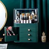 BE-STRONG Organizador De Almacenamiento De Maquillaje, con Cubierta Y Cajón Transparente, Fácil Organizar Productos para El Cuidado De La Piel para La Encimera De Baño De Dormitorio,Verde
