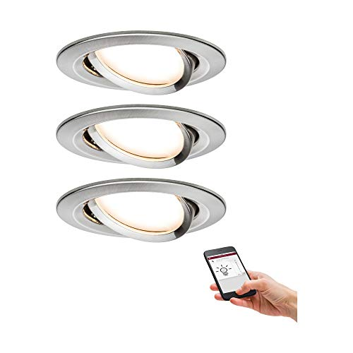 Paulmann 92959 Nova Plus LED Einbauleuchte Set Smart Home Zigbee rund schwenkbar incl. 3x6 Watt dimmbar Einbaustrahler Eisen gebürstet Spot Alu Zink Einbaulampe 2700 K Amazon Echo Plus kompatibel