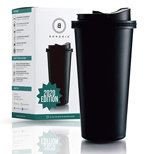 BOHORIA® Premium Edelstahl Kaffee-to-Go-Becher 2020 Edition | Thermo-Becher | Isolierbecher – Vakuumisoliert - 500 ml | Reise-Becher für Kaffee – Autobecher Travel Mug (Classic Black)