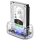 ORICO Hard Drive Dock USB3.1 Gen2 10Gbps to SATA 2.5 and 3.5 inch SSD HDD Docking Station Laptop External Hard Drive Enclosure, Support 16TB (Transparent)