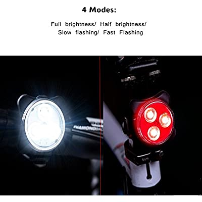 Yakamoz Cyclists USB Rechargeable LED Bike Light Set Waterproof White Headlight and Red Taillight