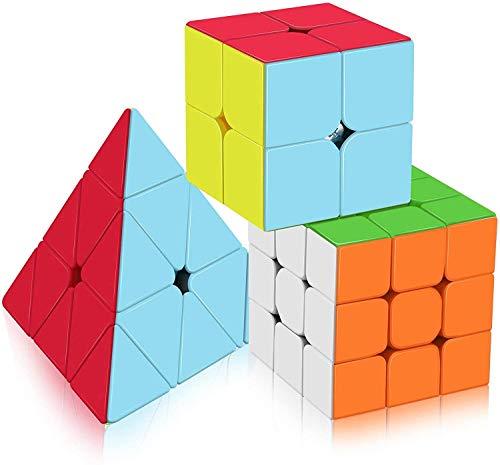 Vdealen Speed Cube Set, Original Magic Cube Set di Qiyi Cube 2x2 3x3 Piramide, Facile Rotazione & Gioco Fluido, Stickerless Cube