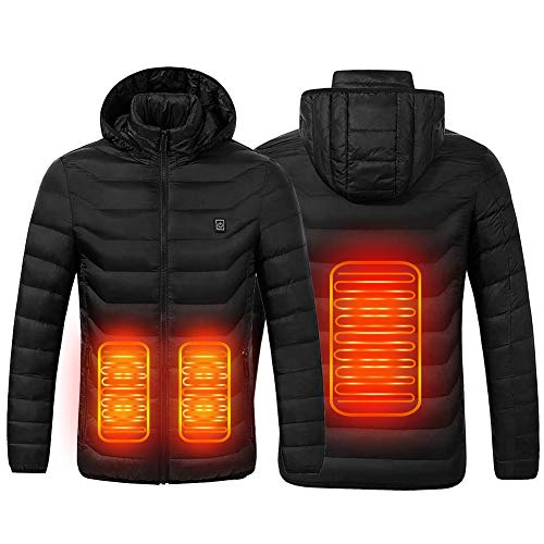 Chaqueta con Calefacción,Chaqueta Eléctrica Con Calefacción Ropa Calentada Para Hombre y Mujer con Carga USB Invierno Abrigo cálido térmica para Ciclismo para Camping Senderismo Esquí Pesca (Negro, S)