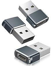 Adaptador USB C Hembra a USB Macho 3-Pack,Adaptador de Cable de Cargador Tipo C a USB A Para iPhone 11 12 Mini Pro Max, Airpods iPad Air M1, Samsung Galaxy Note S20 S21 Plus 20 21 Ultra A90 5G A71 A52