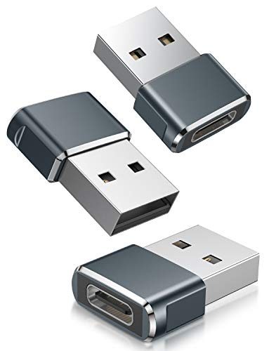Adaptador USB C Hembra a USB Macho 3-Pack,Adaptador de Cable de Cargador Tipo C a USB A Para iPhone 11 12 Mini Pro Max, Airpods iPad Air, Samsung Galaxy Note 10 S20 S21 Plus 20 21 Ultra A90 5G A71 A52