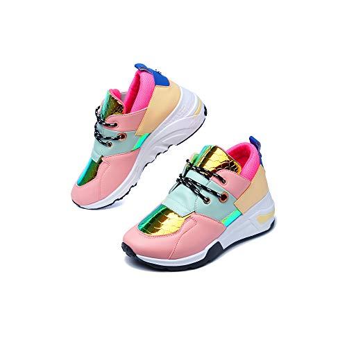 Cape Robbin Bigbang Sneakers for Women, Wedge Fashion Sneaker Shoes for Women with Chunky Block Heels - Mermaid Blush Size 7