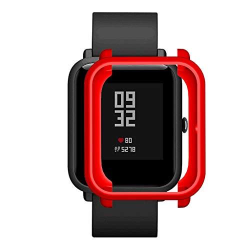 2020 Nuevo! Soft TPU Funda Protectora Compatible para Xiaomi Huami Amazfit Bip Youth/Lite Watch, Suave de Silicona Smartwatch Carcasa Protector Difícil Marco Cáscara Manga Reloj Funda (rojo)