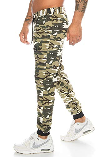 Crazy Age Herren Cargo Sporthose Camouflage Tarnhose Jogginghose Fußballhose Freizeithose Alltagshose (Helloliv(002), XXL)