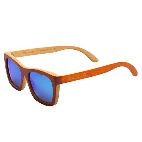 Iwood Unisex Madera naranja Pintura Marco polarizó el Azul de la lente gafas de sol de bambú