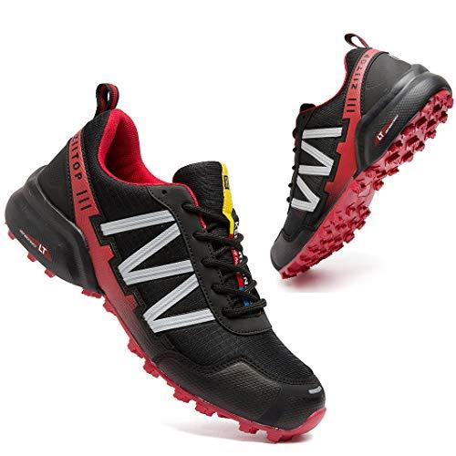 Zapatillas Trail Running Hombre Impermeables Zapatillas Trekking Hombre Zapatos de Senderismo Ligeras Deportivas Zapatos para Correr Gimnasio Sneaker Negro Rojo 43 EU