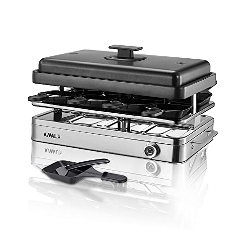 ANWALE Smokeless Grill Indoor Electric Grill and Griddle Plate, Raclette Table Grill and Korean BBQ Grill, All-In-One 1500W Electric Grill Indoor, Revesible Non-stick Plate, Warm Insulated Layer