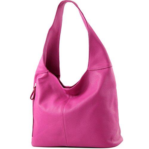 modamoda de - T166 - ital Große Schultertasche aus Leder, Farbe:T166 Pink