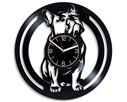 Kovides Dog Vinyl Record Wall Clock French Bulldog Home Decoration 12 inch Wall Clock French Bulldog Art Gift for Her Dog Wall Art French Bulldog Clock Dog Wall Clock Modern Dog Vinyl Clock
