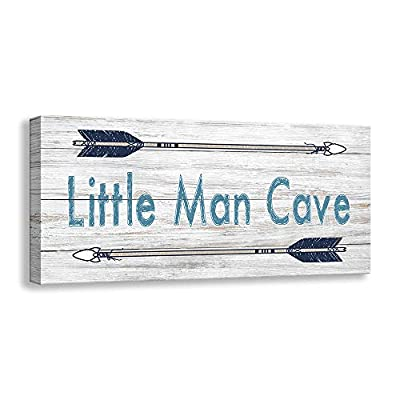 Kas Home Vintage Boys Nursery Canvas Wall Art   Rustic Kids Bedroom Rules Prints Signs Framed   Little Man Cave Wood Sign Decor (8 X 16 inch, Lil Man Cave -W)