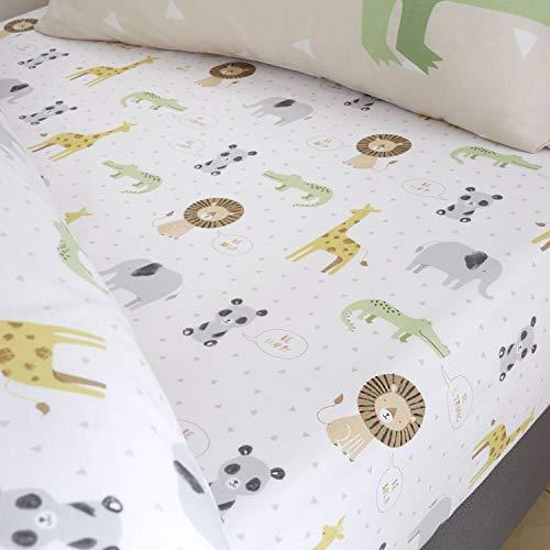 Catherine Lansfield Kinder-Spannbetttuch, Motiv: Roarsome Animals, pflegeleicht, für Einzelbett, naturfarben