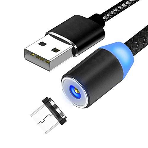 Cable de carga magnético,cable trenzado giratorio de 360°Cable de carga,cargador magnético trenzado de nailon para teléfonos inteligentes Micro Usb-Android Negro