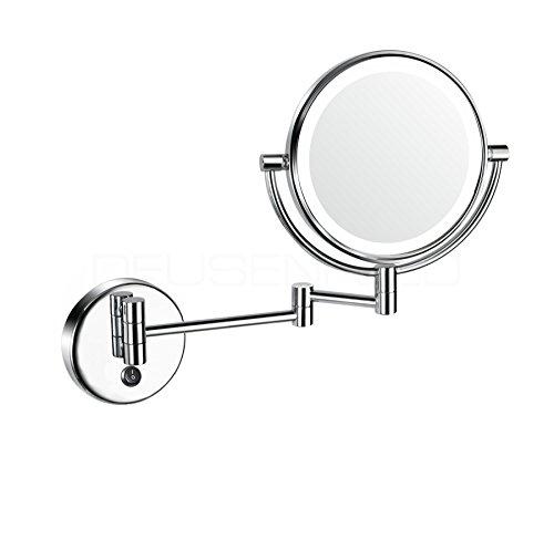 DEUSENFELD WLED52D - LED Doppel Wand Kosmetikspiegel, Rasierspiegel, Schminkspiegel, 5X Vergrößerung + Normal, Ø20cm, Tageslicht LEDs, 230V DIREKTANSCHLUSS, verchromt