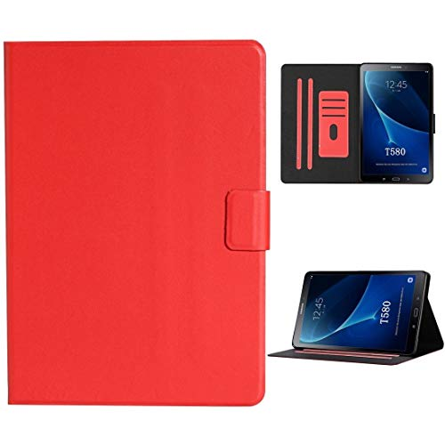 QGT for Samsung Galaxy Tab A 10.1 T580/T585 (2016) Solid Color Horizontal Flip Leather Case with Card Slots & Holder & Sleep/Wake-up Function (Color : Red)