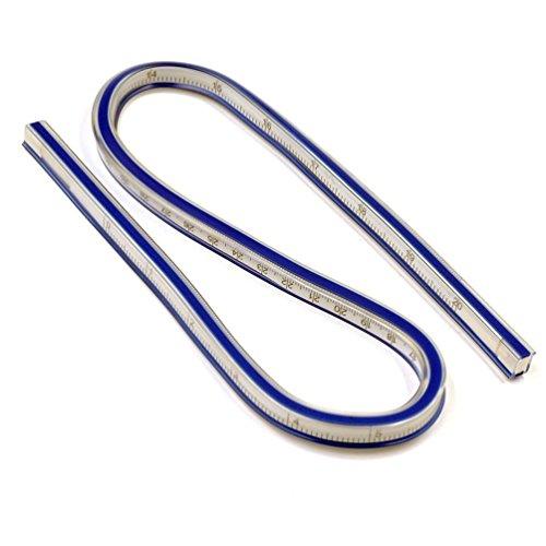 T&B 50cm 曲線ルーラー クラフト 定規 テープ メジャー 柔軟 測定 軟質プラスチック製 フレキシブルカーブルーラーヘリックス製図図面測定ツールソフトプラスチックテープメジャールーラーブルー/ホワイト