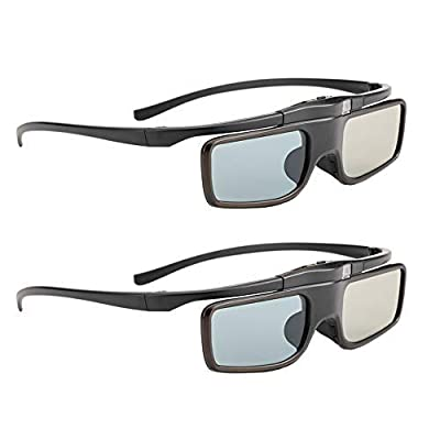 RF 3D Glasses, Active Shutter RF 3D Glasses Rechargeable Suitable for RF 3D TV & Projectors, RF 3D Eyewear for Sony Epson Samsung JVC Sharp, Compatible with TDG-BT500A, SSG-5100GB, AN3DG40, Pack of 2