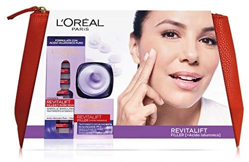 L'Oréal Paris Idea Regalo Donna Natale 2020, Pochette Revitalift Filler con Ampolle Rimpolpanti e Crema Viso Giorno 50 ml