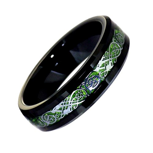 Fantasy Forge Jewelry Black Tungsten Green Celtic Dragon Ring Womens Mens 6mm Viking Band Size 7