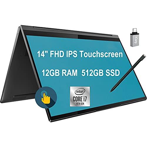 Flagship 2021 Lenovo Yoga C940 2 in 1 Business 14 Laptop 14' FHD IPS Touchscreen 10th Gen Intel Quad-Core i7-1065G7 12GB RAM 512GB SSD Backlit FP Pen Thunderbolt Dolby Win10 Pro + USB-C Adapter