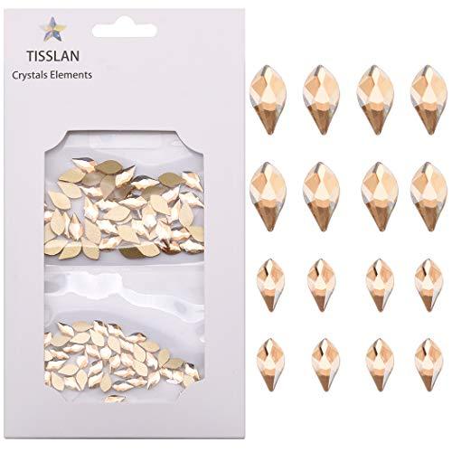 100pcs Flame Flatback Rhinestone Golden Shadow Crystal Rhinestones For 3d Nail Art Design Decoration (50pcs each Size)