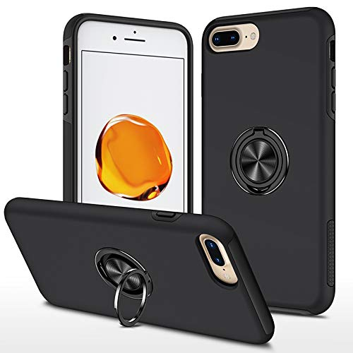 EYZUTAK Funda para iPhone 7, iPhone 8, iPhone SE, lisa, de doble capa, dura, militar, con anillo de 360 grados, silicona, antigolpes, protección de cámara, soporte magnético para coche, color negro