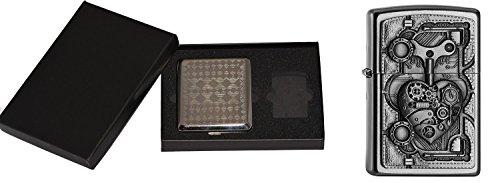Zippo 17116Steampunk Heart im Sigarette Custodia Regalo Set/Cigarette Case Gift Set Tempesta Accendino, Cromo, Argento, 15x 10x 5cm