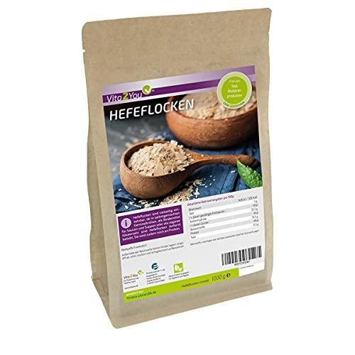Hefeflocken 1kg - ohne Zusätze - Proteinreich - 1000g - Ideal für vegane Käsesoßen - Zippbeutel - Premium Qualität