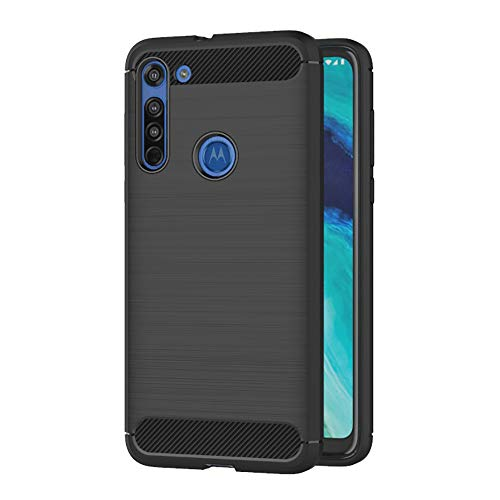 AICEK Compatible Moto G8 Hülle, Schwarz Silikon Handyhülle für Motorola Moto G8 Schutzhülle Karbon Optik Soft Hülle (6,4 Zoll)