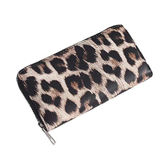 Aisoway Las Mujeres con Cremallera Monedero Largo de la PU del Leopardo del Embrague de Cuero Carteras Bolsos de Cuero