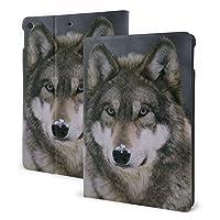 オオカミ 雪 IPad ケース iPad カバー 手帳型 IPad 保護カバー 高級PU レザーケース スタンド 全面保護 多角度調整 汎用ケース 傷つけ防止 耐衝撃 かわいい おしゃれ シンプル 最新