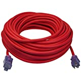 Clear Power 100 ft Heavy Duty Extreme Cold Weather Outdoor Extension Cord 12/3 SJTW -50°C, Lighted Connector, Water & Weather Resistant, Flame Retardant, Red, 3 Prong Grounded Plug, CP10108